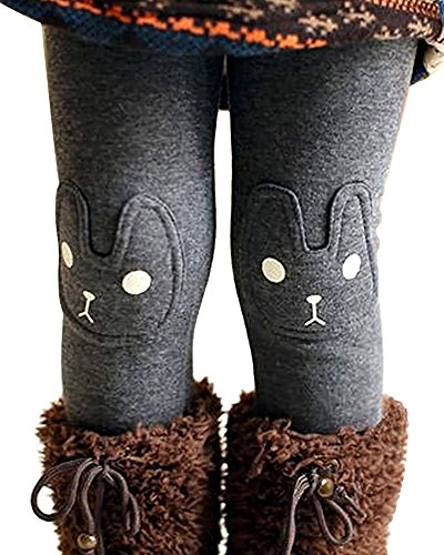 Kids Girls Winter Leggings Bunny Printed Thick Warm Fleece Pants for 2-7 Years Ash Black,140/6-7 Years by BOWKITE