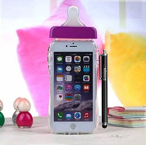 5S case,Emilys iphone 5S case,Emilys New Fashion style Cute Feeding Pacifier Milk Bottle Soft TPU Transparent Back Case Cover for iphone 5S(Purple)