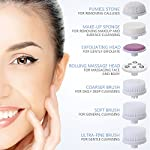 PIXNOR Facial Cleansing Brush, Waterproof Facial Brush with 7 Exfoliating Brush Heads for Deep Cleansing, Gentle Exfoliating, Removing Blackhead, Massaging