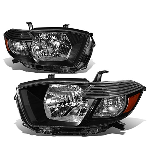 For 08-10 Highlander XU40 Pair of Black Housing Amber Corner Headlight