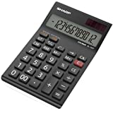 Sharp EL-124TWH Office Desktop Calculator - Black/White