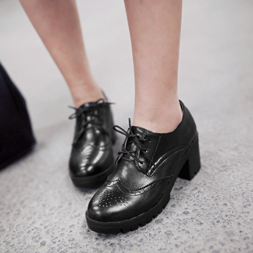 Show Shine Womens Fashion Platform Chunky Heel Oxfords Shoes Black mOFcsot1