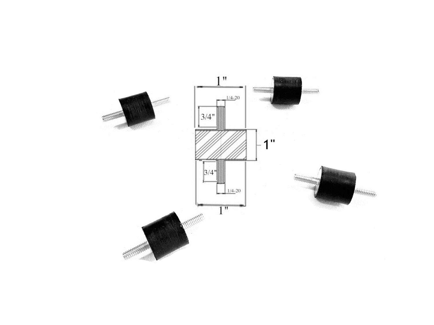 Lot of 4 Rubber Vibration Isolator/Isolation Mounts (1'' Dia x 1'' Thick) 1/4-20 x 3/4'' Long Studs