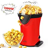 SIMBR Popcorn Popper, Hot Air Popcorn Maker with Measuring Spoon and Transparent Lid, 1200W Electric Popcorn Machine for your family