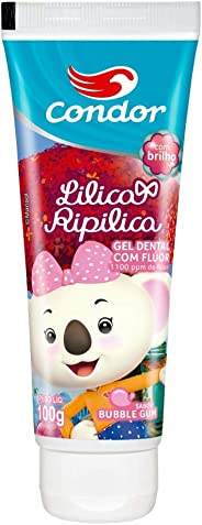 Gel Dental Infantil com Flúor Lilica Ripilica Sabor Bubble Gum 100G, Condor