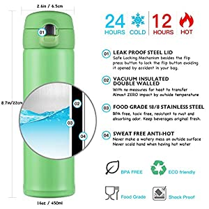 Hiwill Double Walled Vacuum Insulated Travel Coffee Mug, Stainless Steel Flask, Sports Water Bottle, One Hand Open (16OZ-[G-3] Light Green)