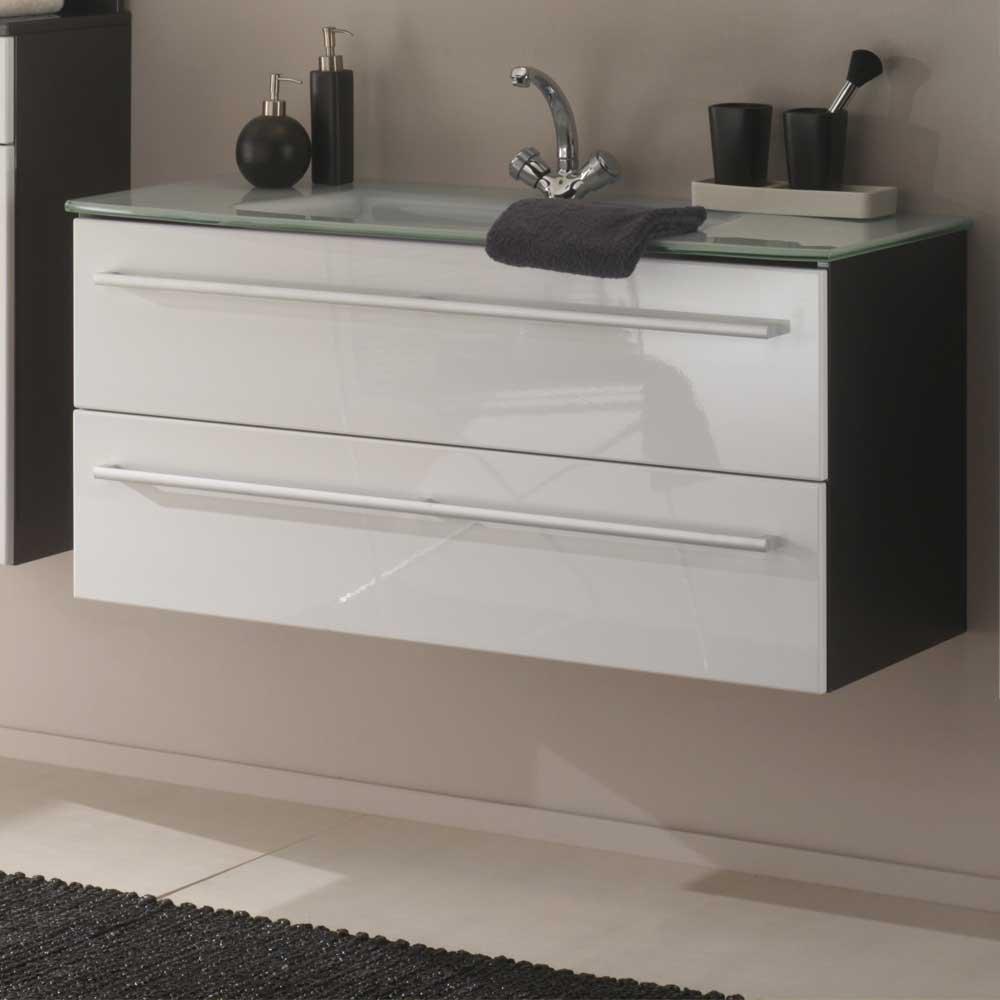 Waschtischunterschrank mit Schubladen Weiß Hochglanz Anthrazit Waschbecken im Lieferumfang enthalten Mit Einlass-Waschbecken Ohne Pharao24