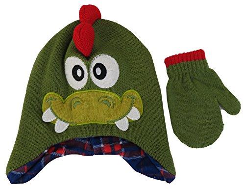 ABG Knit Animal Alligator Face Critter Hat and Mitten Set - Toddler [4013]