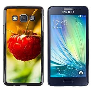 Be Good Phone Accessory // Dura Cáscara cubierta Protectora Caso Carcasa Funda de Protección para Samsung Galaxy A3 SM-A300 // Fruit Macro Raspberry Lonely
