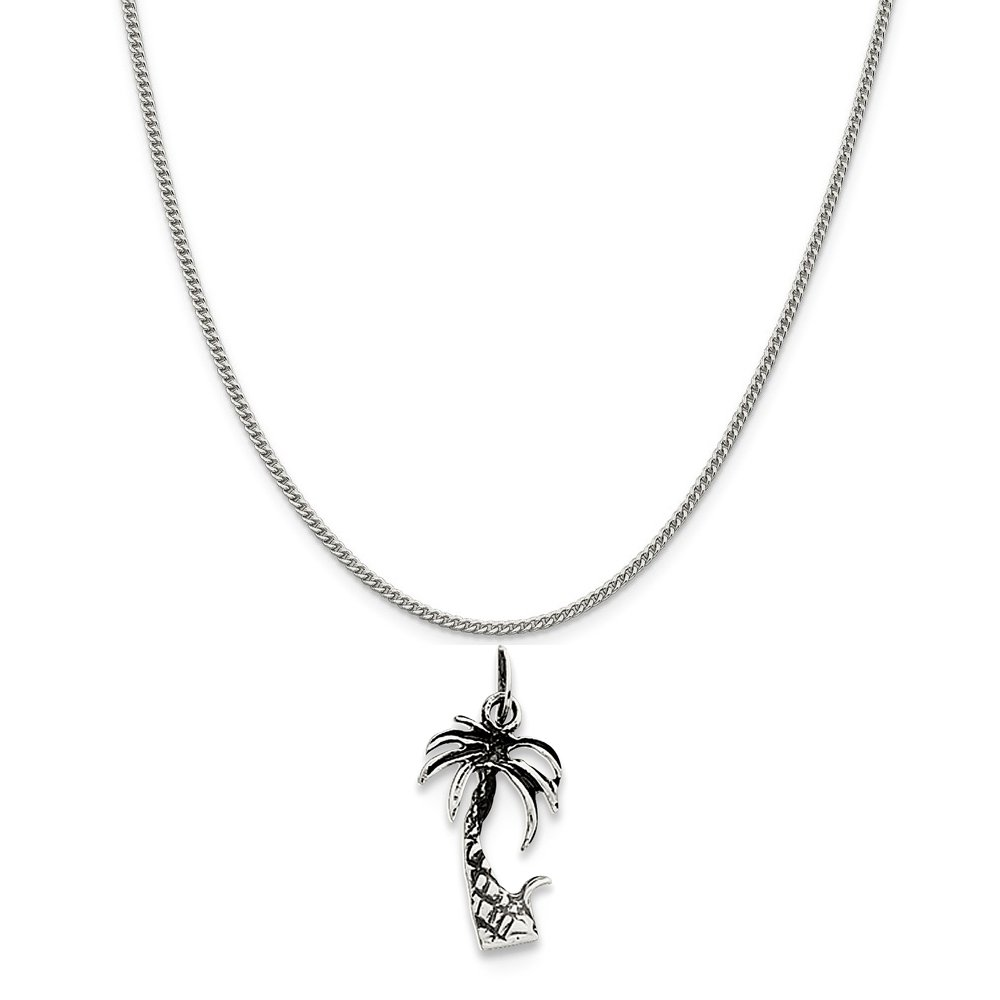 16-20 Mireval Sterling Silver Antiqued Palm Tree Charm on a Sterling Silver Chain Necklace