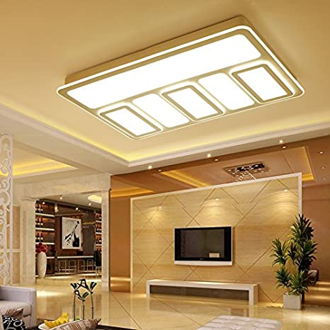 Cttsb Creative Rectangular Living Room With Simple And Modern Light Led Ceiling Lamp Warm Personality Bedroom Lamp 1 2 M Hall 6040cm Lighting Dimming Amazon Com