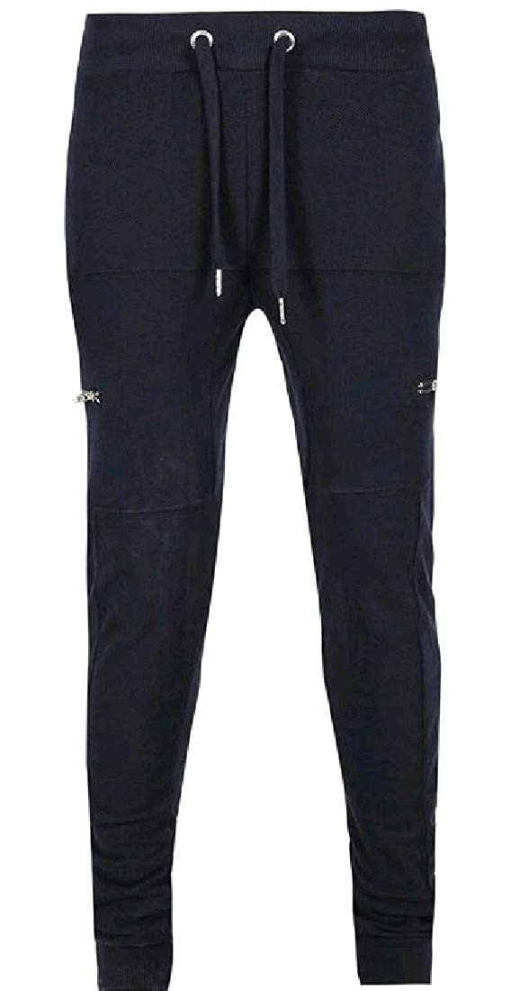 YUNY Mens Drawstring Zip-up Elastic Bottom Cozy Trousers Pants Navy Blue XS
