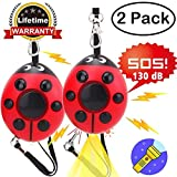 GBD Personal Alarm Keychain for Kids Children Women Men Elderly 140db SOS Emergency Self Defense Security Sirens Human Voice Safety for Night Workers Explorer with LED Flashlight (2 Pack)