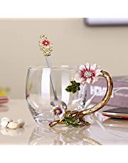 PPEA Enamel Sunflower Crystal Lead-Free Glass Tea Cup with Spoon Set, Present for The Christmas, Valentine's Day.Best Present for Mother, Grandma, Girlfriend, Sister.