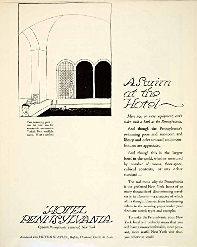 1920 Ad Hotel Pennsylvania NYC Art Deco Travel Tourism Motel Swimming Pool YLF5 - Original Print Ad from PeriodPaper LLC-Collectible Original Print Archive