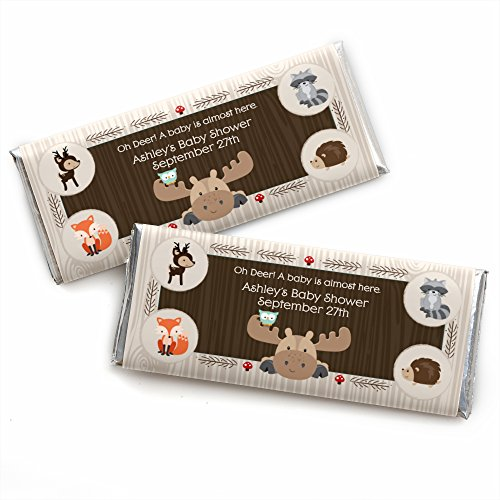 Custom Woodland Creatures - Personalized Baby Shower or Birthday Party Favors Candy Bar Wrappers - Set of (Custom Chocolate Bar Wrappers)