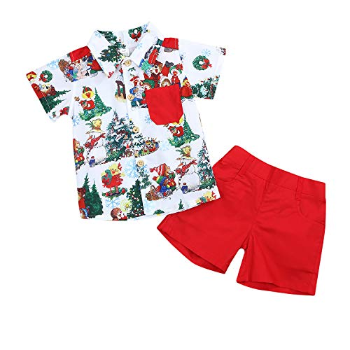 Christmas Outfits Toddler Kids Baby Boy Girl T-Shirt Tops Short Pants Clothes Set Costumes (Red, 12-18 Months)]()