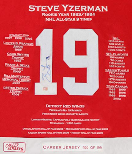 4a4114fad Steve Yzerman Framed Career Jersey - Signed - Ltd Ed 199 - Detroit Red Wings  at Amazon s Sports Collectibles Store