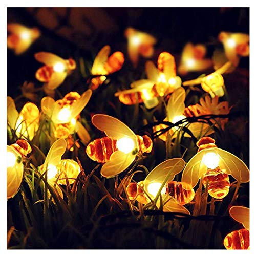 ifOlife Solar Bee String Light Waterproof 21FT 30LED Twinkle Fairy Garden Decor Lights,Outdoor Solar Powered 8-Mode Honeybee Shape String Lights for Patio Lawn Yard Landscape Tree Flower by ifOlife