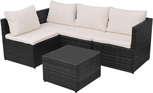 Festnight Conjunto de sofás de jardín 13 Piezas Poli ratán Negro: Amazon.es: Hogar