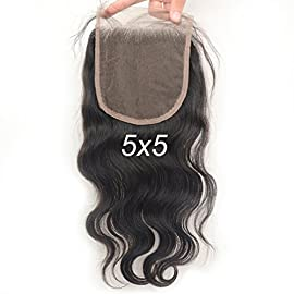 Vogue Queen Body Wave 5×5 Lace Closure Virgin Brazilian Human Hair Lace Pieces with Baby Hair Natural Color