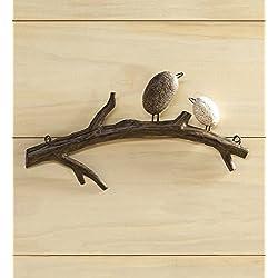 Wind & Weather Birds on Branch Indoor or Outdoor Wall Art, Made of Lightweight Metal (2 Birds)