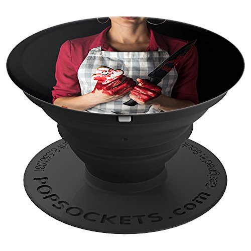 Scary Horror Halloween Cookies Killer Mom Knife Blood Mommy - PopSockets Grip and Stand for Phones and Tablets ()