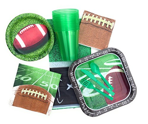 Football Tailgating and Birthday Party Supplies - Paper Plates, Napkins for 14, 127 Piece Set