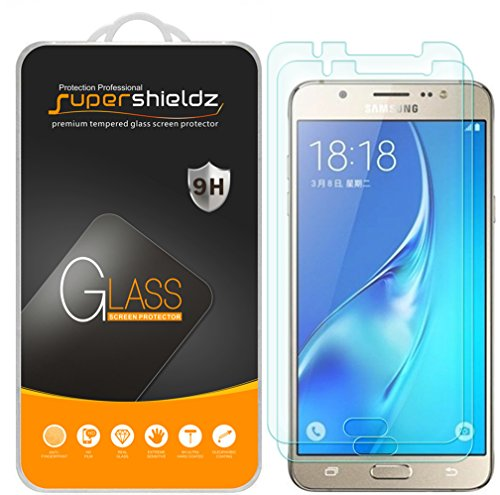 [2-Pack] Supershieldz for Samsung Galaxy J7 (2016) Tempered Glass Screen Protector, Anti-Scratch, Anti-Fingerprint, Bubble Free, Lifetime Replacement - Glasses 2016