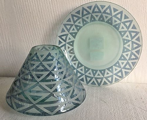 Yankee Candle Large Teal Triangle Jar Shade Candle Topper and Candle Tray/Plate