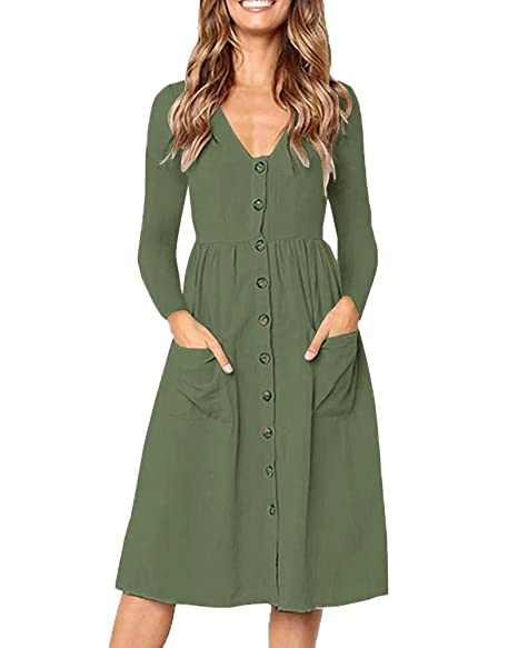 9e47c2637325 Valphsio Women s Summer Long Sleeve V Neck Button Down Causal Plain Swing Midi  Dress Pockets