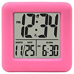 Equity by La Crosse 70902 Pink Soft Cube LCD Alarm Clock,