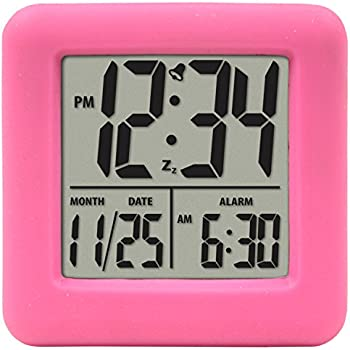 Equity by La Crosse 0 70902 Soft Cube LCD Alarm Clock, Pink, multicolored