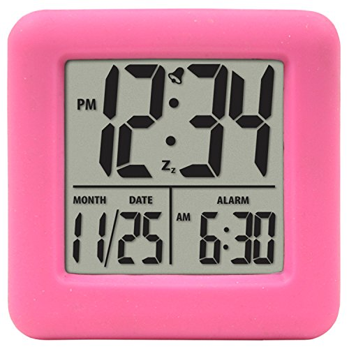 Equity by La Crosse 70902 Soft Cube LCD Alarm Clock, - Rubber Green Clock
