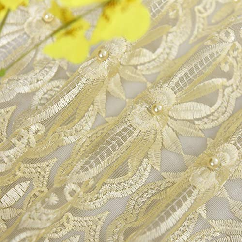 Vintage Style Floral Jacquard Sheer Voile Window Curtains Rod Pocket Drapes for Living Room Bedroom(1 Panel, W 50 x L 84 inch, Beige Bottom+Light Yellow Embroidery) (Lace Patio Panels)