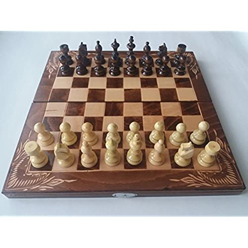 Awesome New Brown Chess Set Backgammon Draughts Handmade Hazel Wood Chess  Piece,handcarved Flower Beech Wood Chessboard Box, Wooden Chess Set