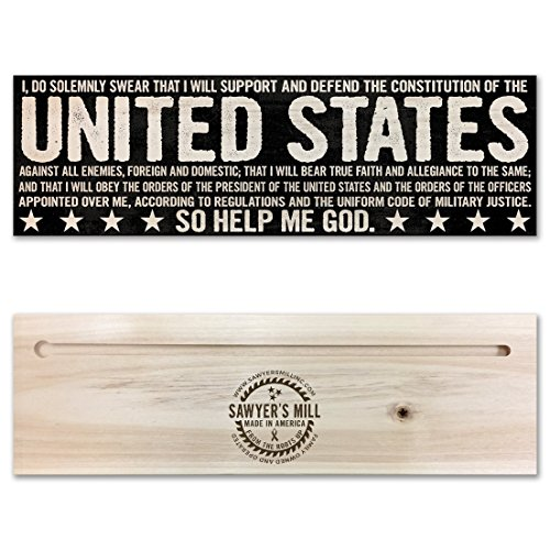 Oath of Enlistment - Patriotic Handmade Wood Block Sign for All Branches of the Military. Army, Navy, Air Force, Coast Guard and Marines