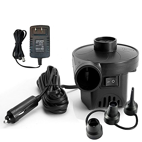 Price comparison product image KERUITA Electric Air Pump for Inflatables Air Mattress Pump 110V AC/12V DC Quick-Fill Airbed Boat Pool Raft Inflatable Pump with 3 Nozzles Black