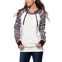 TLoowy™ Women Teen Girls Geometric Print Long Sleeve Hoodies Sweatshirt Pullover Casual Blouse Top Shirt