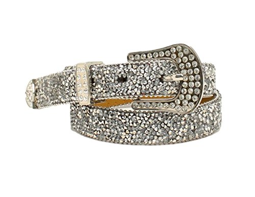 Style Rhinestone Belt (Ariat Women's 1'' Cluster Crystal Rhinestone Belt, Silver, L)