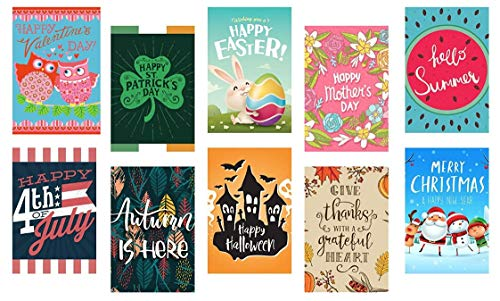 Seasonal Garden Flag Set For Outdoors Garden Decorations | 10 Pack Assortment Of 12- Inch X 18- Inch Flags | Double-Sided, Polyester, Great Yard Decor To Welcome Friends And Family