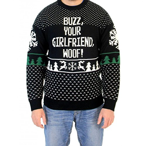 Home Alone Buzz Your Girlfriend Woof Ugly Christmas Sweater (Adult Large) -