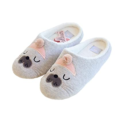 647bfd4f4cb11b Image Unavailable. Image not available for. Color  Nafanio Cute Winter Slippers  Animal Pattern Cotton Home Women Indoor Shoes ...