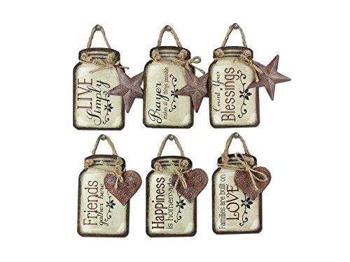 Young's Tin Mason Jar Wall Hangers 6 Assorted Set, (Kitchen Prayer Plaque)