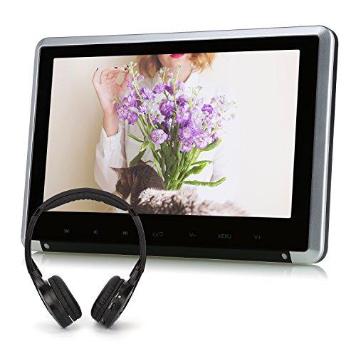 """NAVISKAUTO 10,1"""" Kopfstützenmonitor Kopfstütze Auto DVD Player TFT LCD Bildschirm 1024*600 Touch-Taste Unterstützt 1080p Video/ HDMI Funktion/ USB Speicher/ SD Karte/ Fernbedienung/IR Köpfhörer CH1007B+Y0101S"""