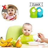 Revolutionary Silicone Baby Bibs Set with Pouch Waterproof for Baby Girls Boys, VIWIEU Toddler Feeding Food Bibs Baby Shower Birthday Gifts Adjustable 2 Pack