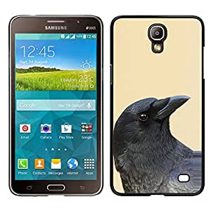 [Neutron-Star] Snap-on Series Teléfono Carcasa Funda Case Caso para Samsung Galaxy Mega 2 [Raven Black Yellow Deep Minimalist Bird]