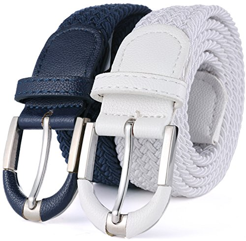 Marino Braided Stretch Belt - Fabric Woven Belt - Casual Weave Elastic Belt for Men and Women - Navy/White - XL