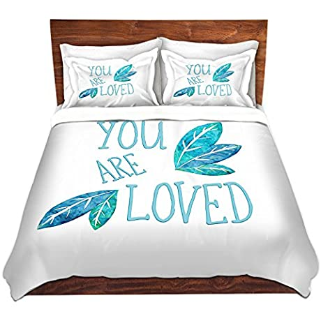 DiaNoche Designs Microfiber Duvet Covers Zara Martina You Are Loved Teal Leaves