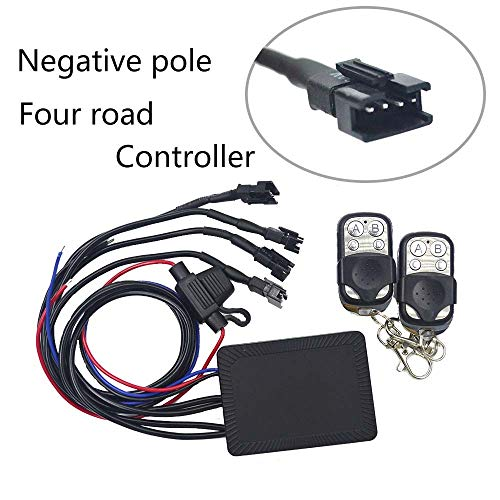 NBWDY RGB Multi-Colors DIY Effect,Universal High Output LED 4-Key Remote Control 4 Channel Negative Pole Controller for RGB LED Motorcycle/car/ATV Accent Neon Light Kit